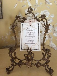 "Antique French Frame, ""Memories are the most beautiful pictures our minds can paint, and nothing can ever erase them."""