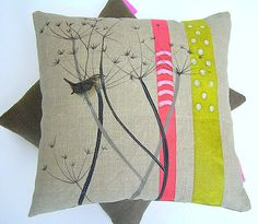 COW PARSLEY CUSHION, Linen cushion with a wren and cow parsley, Dots and Stripes, Refined Rustic Gift for Nature Lovers