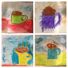 Fun idea! Polar Express art with Nana's hot chocolate pastel lesson. Christi's niece joined in too!