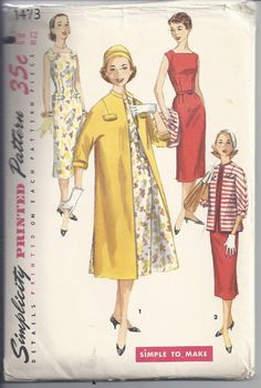 Shift Dress Pattern- Vintage Women's Shift Dress and Coat or Jacket Sewing Pattern Size 10 Simplicity 1473 Bust 28 Coat Pattern Sewing, Jacket Pattern, 1950s Women, Shift Dress Pattern, Vintage Dress Patterns, Simplicity Sewing Patterns, One Piece Dress, Coat Dress, Vintage Outfits