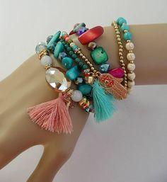 boho charms tassel woman bracelet Bracelet-Manchette Tassel Necklace, Beaded Bracelets, Tassels, Charms, Boho, Woman, Jewelry, Fashion, Necklaces