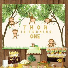 monkey, safari, jungle animals, banana baby shower 1st birthday printable backdrop sign poster banner for dessert table, personalized by PRINTABLEPARTYPAPER on Etsy