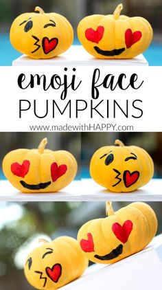 These sweet emoji pumpkins are great way to add LOL to Halloween without having to carve a single pumpkin. Holidays Halloween, Halloween Themes, Halloween Pumpkins, Halloween Crafts, Halloween Decorations, Happy Halloween, Halloween Bottles, Halloween Goodies, Halloween Activities