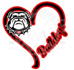 I Heart Bulldogs window decal Georgia Go by EAPersonalizedGifts