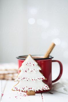 Christmas tree cookie and red enamel mug by Ruth Black - Christmas, Cookie - Stocksy United Black Christmas Trees, Christmas Tree Cookies, Merry Little Christmas, Noel Christmas, Christmas Treats, Christmas Baking, All Things Christmas, Winter Christmas, Christmas Tree Decorations