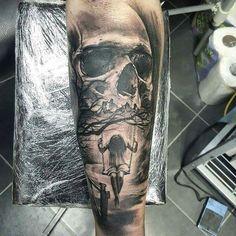 Skull and sad Girl Tattoo