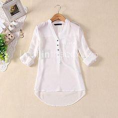 Womens Spring Summer V-neck Chiffon Long Sleeve Casual elegant Shirt Blouse Tops Blouse Styles, Blouse Designs, Chiffon Shirt, Chiffon Tops, White Chiffon, Sheer Chiffon, White Cotton, Chemises Sexy, Shirt Blouses
