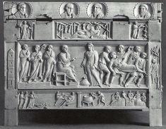 Lipsanoteca di Brescia, la fine del IV secolo, avorio. Museo di Santa Giulia, Brescia. Gesù cammina sulle acque. Saffira davanti a San Pietro. Annania morto viene portato al sepolcro. Giuda impiccato. Nozze di Cana.