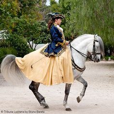 Fancy jacket on rider, breastplate on horse Lady on Baroque Horse
