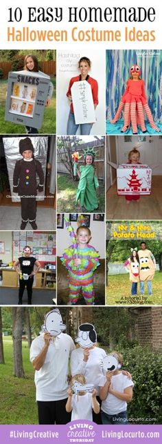 Love these ideas! 10 Easy homemade Halloween Costumes. #costumes #halloween