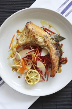 Get this delicious recipe for Broiled Hamachi (Yellowtail) Collar with Pickled Carrots & Nectarines from Chef Ronnie Woo. Fun Easy Recipes, Easy Meals, Japanese Food, Japanese Recipes, Pickled Carrots, Good Food, Yummy Food, Pork, Meat