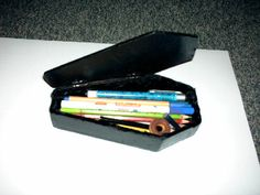 My first pencil case made by myself in 2007 I used ply wood and acrylic spray. The inside of my coffin is covered with black velvet. Goth Bedroom, When School Starts, Cool School Supplies, School Tool, Too Cool For School, School Organization, My Chemical Romance, Halloween Fun, Coffin