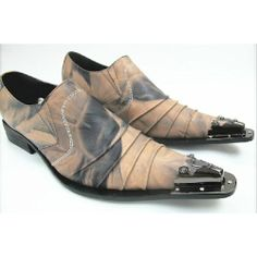 Hand Painted Russet Leather Modern Vintage Western Fashion Shoes Men SKU-1100340