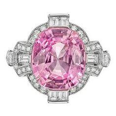 Raymond C. Yard 6.22 Carat Pink Sapphire Diamond Platinum Ring