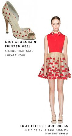 Lips on your dress. Hearts on your shoes! Could you be more valentines ready?!