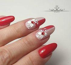 New Nail Art Best Nail Art Designs Tutorial (Beauty&Ideas Nail Art) Red Nail Art, Cool Nail Art, Red Nails, Elegant Nails, Stylish Nails, Flower Nail Art, Flower Nail Designs, Manicure Nail Designs, Best Nail Art Designs