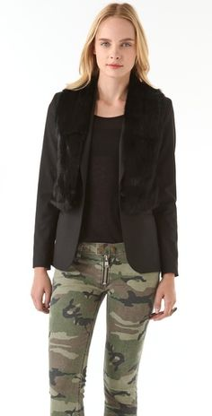 blazer with a furry touch