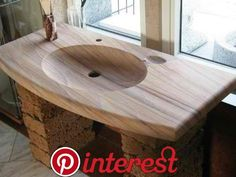 Pin by john swaine on woodwork tips in 2019 Wooden Bathtub, Wooden Bathroom, Wood Sink, Wood Vanity, Rustic Bathroom Designs, Rustic Bathrooms, Rustic Furniture, Diy Furniture, Furniture Design