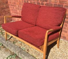 Vintage Retro 1950s Cintique 2 Seater Sofa Reupholstered Red Rust Fab Condition