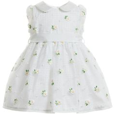 Monnalisa Chic girls delightful white sheer organza and perforated cotton fabric dress that has a slightly puffed and padded effect. The outer organza layer is embroidered with the sweetest daisy flowers and spots, fully lined in lovely soft cotton and has pearlised buttons at the back for ease of dressing.<br /> <ul> <li>Organza: 100% polyester (soft and textured)</li> <li>Lining: 100% cotton (cool and crisp)</li> <li>Machine wash (30*C)</li> <li>Belt is detachable</li> <li>Made in…