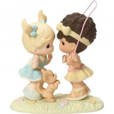 """One, Two, Three, Friends We'll Always Be"" Bisque Porcelain Figurine, Girls"