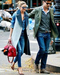 ... a slouchy chambray top in a lighter shade, a two-toned tailored vest,  auburn pointed-toe heels, Westward Leaning voyager sunglasses and a red  duffel bag ... ae40d56f5b