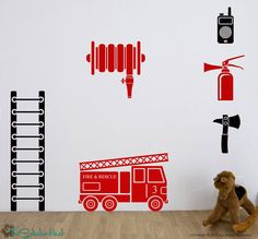 He's refused anything, but Fire Trucks in his room Fire Truck Vinyl Wall Art Childrens Stickers by thestickerhut, $49.99