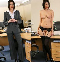 Think about the women at your office and picture them without clothes. Dressed and Nude pics of the same young woman.  Large breasts, stocking, garter