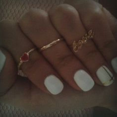 White Colour Nails