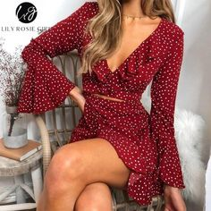 Lily Rosie Girl Print Flare Long Sleeve Women Dress Deep V Neck Crop Beach Sexy . - - Lily Rosie Girl Print Flare Long Sleeve Women Dress Deep V Neck Crop Beach Sexy Dress Dot Ruffles Short Boho Dress Vestidos Long Sleeve Dress Model DE. Women's Dresses, Cute Dresses, Casual Dresses, Fashion Dresses, Summer Dresses, Fashion Clothes, Awesome Dresses, Style Clothes, Elegant Dresses