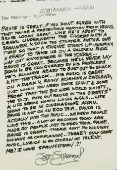 Dangerous Minds   Joe Strummer's thoughts on Bruce Springsteen