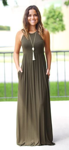 Olive maxi dress with pockets dresses for my closet 服 装