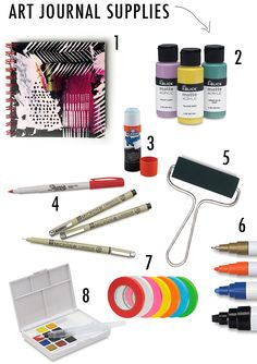 alisaburke: my art journal supplies include matte acrylic paint so pages won't stick together. Permanent pens to doodle over painted pages, prefer brayer before a paint brush. Watercolor paint & acrylic. (more info on site)