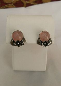 VTG NE NEILS ERIK FROM DENMARK STERLING SILVER ROSE QUARTZ FLOWER CLIP EARRINGS