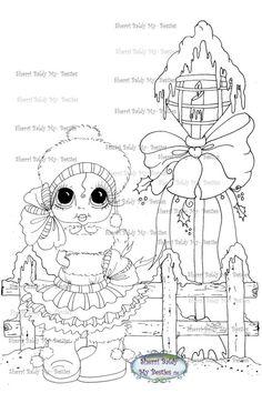 INSTANT DOWNLOAD Digi Stamps Big Eye Big Head Dolls Digi Bestie Christmas Lights By Sherri Baldy