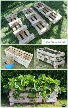 DIY Vertical Strawberry Pallet Planter Instruction - #Gardening Tips to Grow Vertical Strawberries Gardens