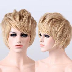 Natural Wavy Side Bang Short Fluffy Synthetic Wig - LIGHT GOLD