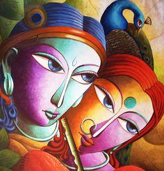 Krishna@16-Lord Krishna Painting Series by Dhananjay Mukherjee