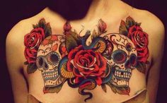 #skull #roses #day of the dead #tattoo