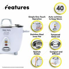 Enjoy easy home cooking with the Aroma Simply Stainless (Cooked) Rice Cooker. Delicious one-pot dishes Small Rice Cooker, Best Rice Cooker, One Pot Dishes, Kitchen Time, How To Cook Rice, Specialty Appliances, Cooking Timer, Cookers, Stainless Steel
