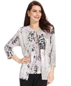 3e23b804dec Alex Evenings Plus Size Three-Quarter-Sleeve Metallic Printed Jacket    Shell Set Women - Jackets - Macy s