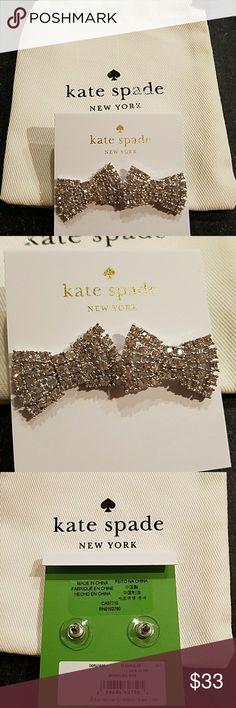 Kate Spade earrings Brand new kate spade silvertone sparkly bow earrings. Each meadures approximately 3/4 inch. So pretty kate spade Jewelry Earrings