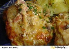Hrbaté maso recept - TopRecepty.cz Meat Recipes, Cooking Recipes, Russian Recipes, Hawaiian Pizza, Cheeseburger Chowder, Lasagna, Baked Potato, Ham, Potato Salad