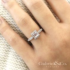 Gabriel & Co. - Voted #1 Most Preferred Bridal Brand. See yourself in this White Gold Emerald Cut Halo Engagement Ring.