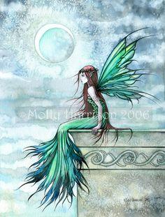 Original Fairy Print 'Mystic Adeline' by Molly Harrison Beautiful Faerie Art 9 x 12. $18.00, via Etsy.