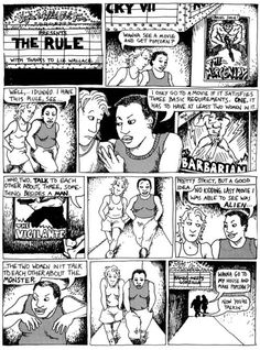 """The original """"Bechdel Test"""" comic strip, From Alison Bechdel's series """"Dykes to Watch Out For."""" """"I only go to a movie if it satisfies three basic requirements. ONE it has to have at least two women in it who TWO, talk to each other about, THREE, something besides a man."""" [click on this image to find a short clip explaining the Bechdel test and an analysis of male-centered plots]"""