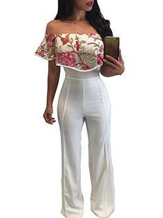 "Womens's Sexy Off Shoulder High Waist Wide Leg Jumpsuits Rompers Pants  Special Offer: $24.99  155 Reviews Size:S,M,L,XS:bust 84cm(33.07""),waist 70cm(27.56""),hips 90cm (35.43""),length 138cm(54.38"") M:bust 88cm(34.65""),waist 74cm(29.13""),hips..."