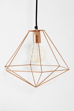 Magical Thinking Geo Diamond Pendant $69 | can be DIYed using straws and wire like this, http://www.vintagerevivals.com/2013/12/diy-leather-and-brass-teardrop-hanging-planter.html