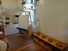 classroom art area, painting easel, clay bench at Garden Gate Child Development Center Student Cubbies, Future School, Art Area, Class Design, Learning Environments, Garden Gates, Art Classroom, Reggio, Kid Spaces