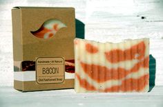 Looks like bacon... but it's soap!! Bacon Handmade Natural Soap MAN SOAP. Wow.
